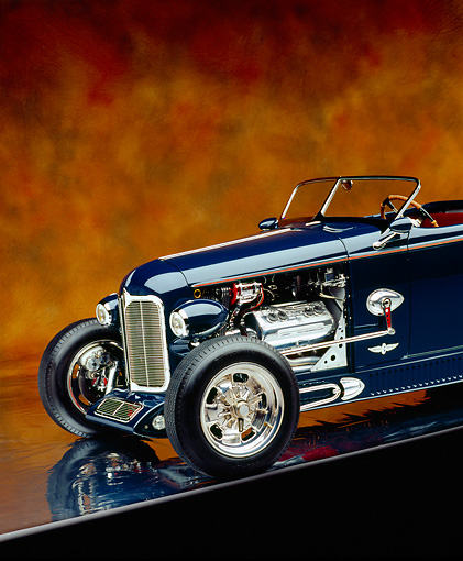 AUT 26 RK0599 03 © Kimball Stock 1932 Speedway Special Roadster Blue Close Up 3/4 Front On Mylar Brown Mottled Background Studio