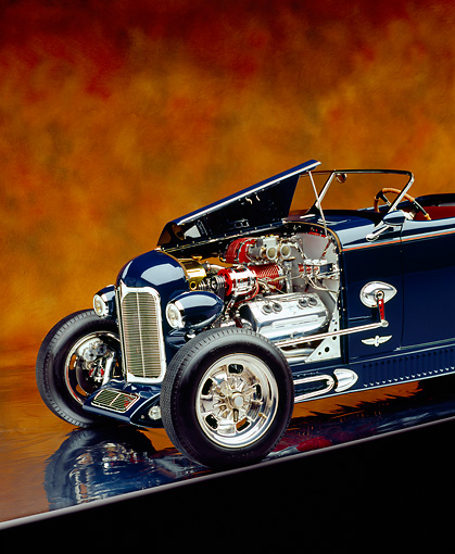 AUT 26 RK0601 02 © Kimball Stock 1932 Speedway Special Roadster Blue Close Up 3/4 Front View On Hood Open Brown Mottled Studio