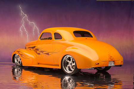 AUT 26 RK0662 02 © Kimball Stock 1939 Chevrolet Radical Custom Coupe Yellow With Flames