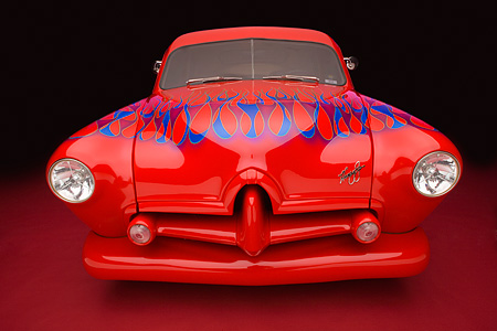 AUT 26 RK0666 01 © Kimball Stock 1952 Kaiser Frazer Henry J Coupe Red With Flames Head On View Studio