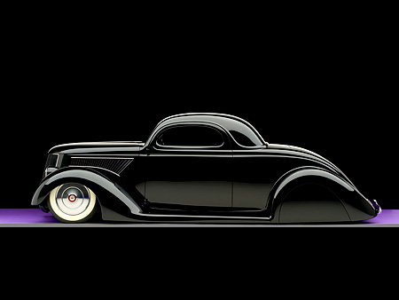 AUT 26 RK0676 01 © Kimball Stock 1936 Ford Cole Foster 3 Window Coupe Black Profile Studio