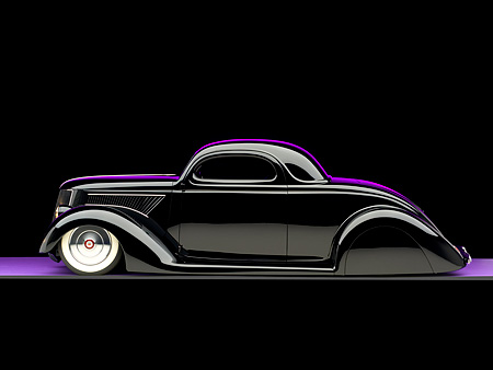 AUT 26 RK0677 01 © Kimball Stock 1936 Ford Cole Foster 3 Window Coupe Black Profile Studio