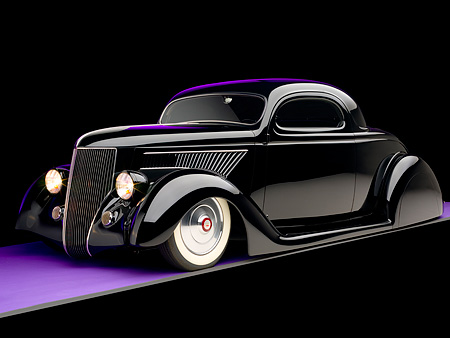 AUT 26 RK0678 01 © Kimball Stock 1936 Ford Cole Foster 3 Window Coupe Black 3/4 Side View Studio