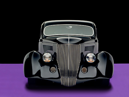 AUT 26 RK0679 01 © Kimball Stock 1936 Ford Cole Foster 3 Window Coupe Black Head On View Studio
