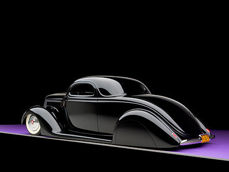 AUT 26 RK0680 01 © Kimball Stock 1936 Ford Cole Foster 3 Window Coupe Black 3/4 Rear View Studio