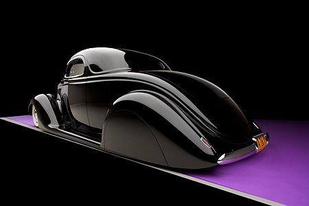 AUT 26 RK0681 01 © Kimball Stock 1936 Ford Cole Foster 3 Window Coupe Black 3/4 Rear View Studio
