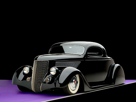 AUT 26 RK0682 01 © Kimball Stock 1936 Ford Cole Foster 3 Window Coupe Black 3/4 Front View Studio