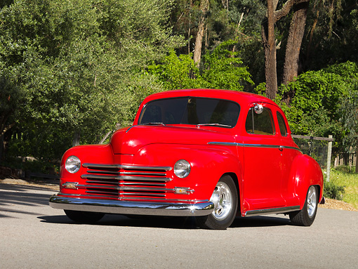 AUT 26 RK1127 01 © Kimball Stock 1948 Plymouth Coupe Red 3/4 Front View On Pavement