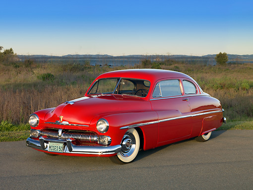 AUT 26 RK1136 01 © Kimball Stock 1950 Mercury Coupe Red 3/4 Front View On Pavement