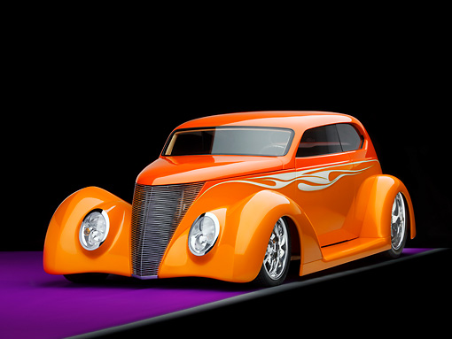 AUT 26 RK1171 01 © Kimball Stock 1937 Ford Sedan Orange 3/4 Front View On Purple Floor Studio