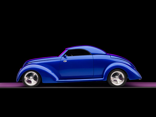 AUT 26 RK1175 02 © Kimball Stock 1939 Ford Cabriolet Blue Profile View On Purple Floor Studio