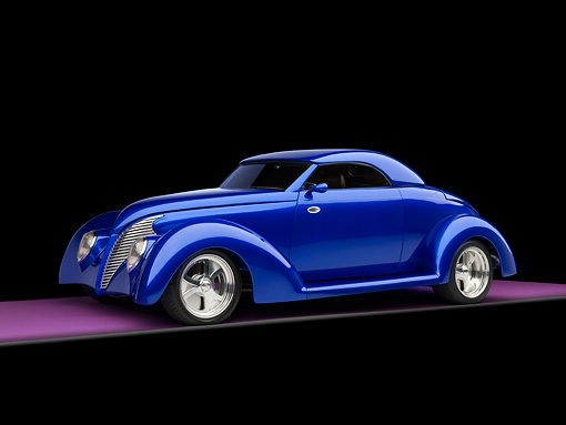 AUT 26 RK1176 01 © Kimball Stock 1939 Ford Cabriolet Blue 3/4 Side View On Purple Floor Studio