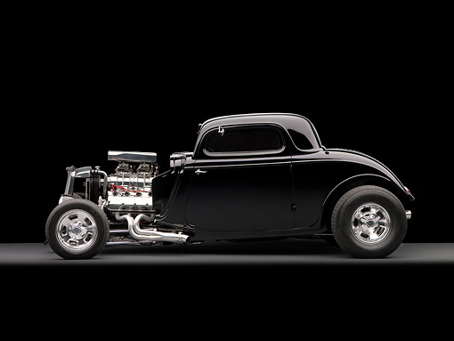 AUT 26 RK1178 01 © Kimball Stock 1934 Ford 3 Window Coupe Black Profile View On Gray Floor Studio
