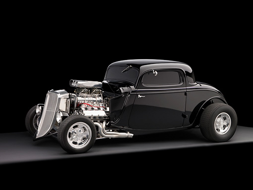 AUT 26 RK1179 02 © Kimball Stock 1934 Ford 3 Window Coupe Black 3/4 Side View On Gray Floor Studio