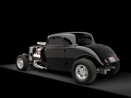 AUT 26 RK1180 02 © Kimball Stock 1934 Ford 3 Window Coupe Black 3/4 Rear View On Gray Floor Studio