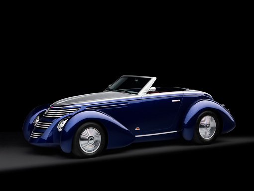 AUT 26 RK1182 01 © Kimball Stock 2005 Aghassi Royale Roadster Blue 3/4 Side View On Seamless Studio