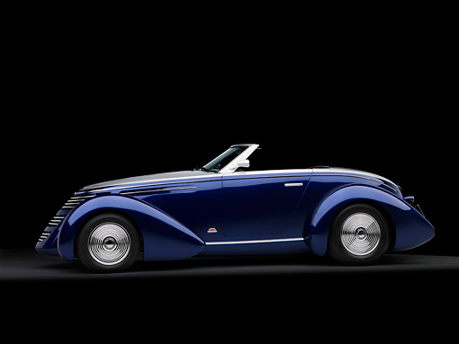 AUT 26 RK1183 01 © Kimball Stock 2005 Aghassi Royale Roadster Blue Profile View On Seamless Studio