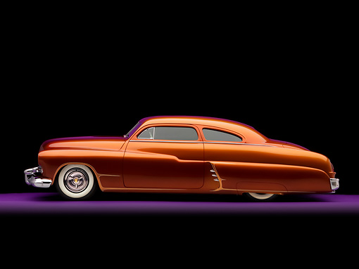AUT 26 RK1190 02 © Kimball Stock 1951 Mercury Coupe Copper Chopped Top Profile View Studio