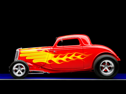 AUT 26 RK1219 01 © Kimball Stock 1934 Ford 3-Window Coupe Red With Flames Profile View Studio