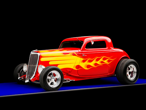 AUT 26 RK1220 01 © Kimball Stock 1934 Ford 3-Window Coupe With Flames 3/4 Front View Studio