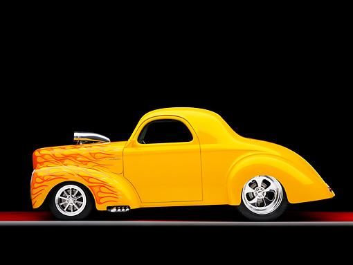 AUT 26 RK1230 01 © Kimball Stock 1941 Willys Coupe Yellow With Flames Profile View Studio