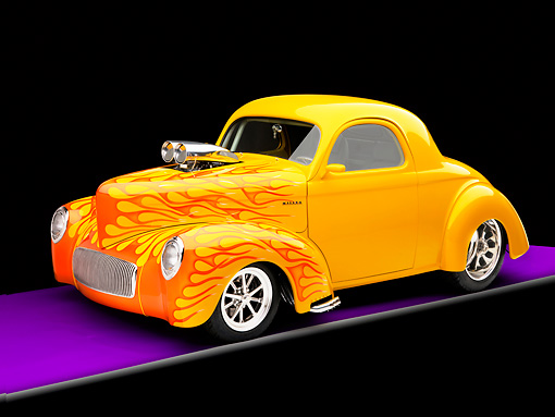 AUT 26 RK1232 01 © Kimball Stock 1941 Willys Coupe Yellow With Flames 3/4 Front View Studio