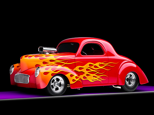 AUT 26 RK1236 01 © Kimball Stock 1941 Willys Coupe Hot Rod Red With Flames 3/4 Front View Studio