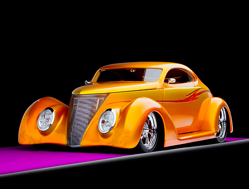 AUT 26 RK1240 01 © Kimball Stock 1937 Ford Coupe Hot Rod Gold 3/4 Front View Studio