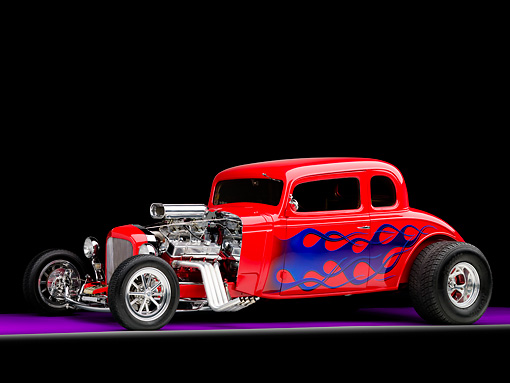 AUT 26 RK1242 01 © Kimball Stock 1934 Chevrolet 5-Window Coupe Hot Rod Red With Blue Flames 3/4 Front View Studio