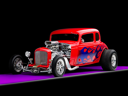 AUT 26 RK1243 02 © Kimball Stock 1934 Chevrolet 5-Window Coupe Hot Rod Red With Blue Flames 3/4 Front View Studio