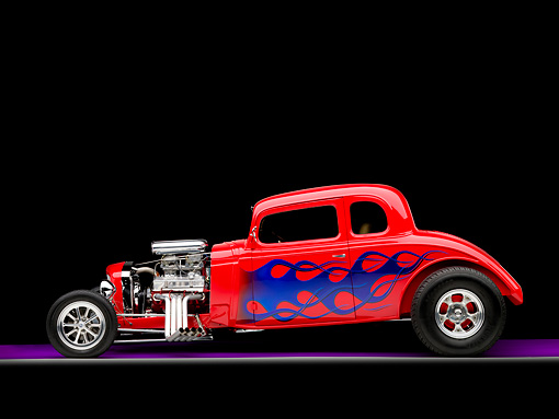 AUT 26 RK1244 01 © Kimball Stock 1934 Chevrolet 5-Window Coupe Hot Rod Red With Blue Flames Profile View Studio