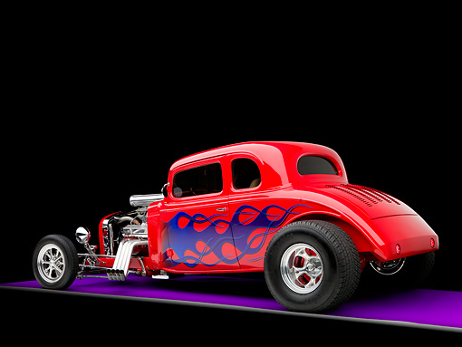 AUT 26 RK1245 01 © Kimball Stock 1934 Chevrolet 5-Window Coupe Hot Rod Red With Blue Flames 3/4 Rear View Studio