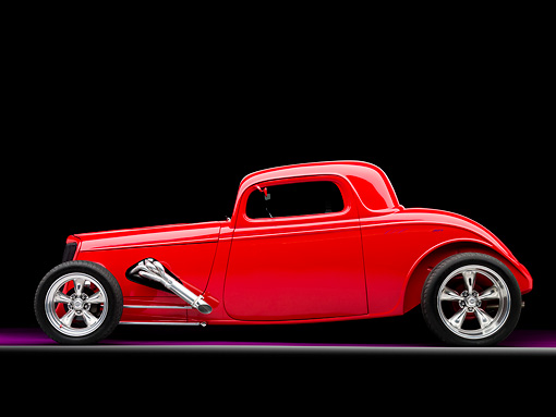 AUT 26 RK1253 01 © Kimball Stock 1934 Ford Model 40 Coupe Hot Rod Red Profile View Studio