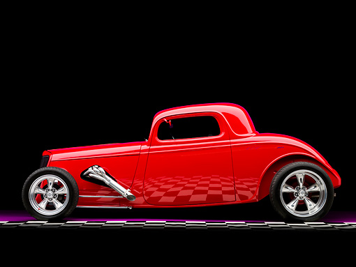 AUT 26 RK1254 01 © Kimball Stock 1934 Ford Model 40 Coupe Hot Rod Red Profile View Studio