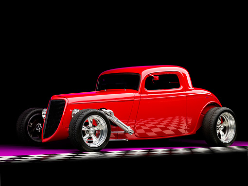 AUT 26 RK1255 01 © Kimball Stock 1934 Ford Model 40 Coupe Hot Rod Red 3/4 Front View Studio