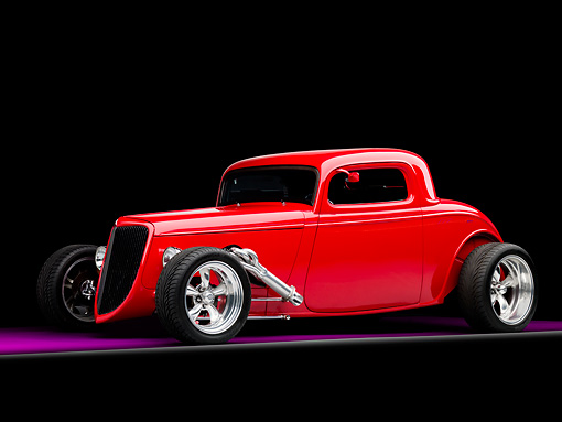 AUT 26 RK1256 01 © Kimball Stock 1934 Ford Model 40 Coupe Hot Rod Red 3/4 Front View Studio