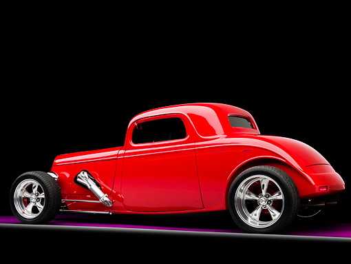 AUT 26 RK1257 01 © Kimball Stock 1934 Ford Model 40 Coupe Hot Rod Red 3/4 Rear View Studio