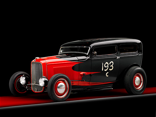 AUT 26 RK1263 01 © Kimball Stock 1932 Ford Sedan Hot Rod Red And Black 3/4 Front View Studio