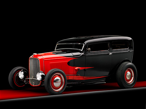 AUT 26 RK1263 02 © Kimball Stock 1932 Ford Sedan Hot Rod Red And Black 3/4 Front View Studio