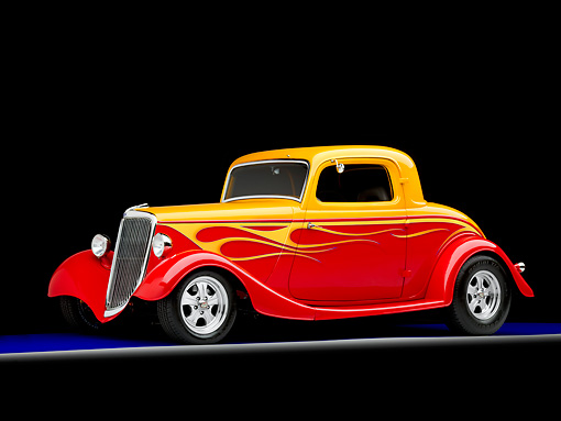 AUT 26 RK1267 01 © Kimball Stock 1934 Ford 3-Window Coupe Hot Rod Red And Gold 3/4 Front View Studio