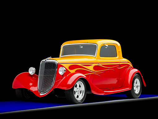 AUT 26 RK1268 01 © Kimball Stock 1934 Ford 3-Window Coupe Hot Rod Red And Gold 3/4 Front View Studio