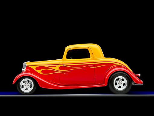 AUT 26 RK1269 01 © Kimball Stock 1934 Ford 3-Window Coupe Hot Rod Red And Gold Profile View Studio