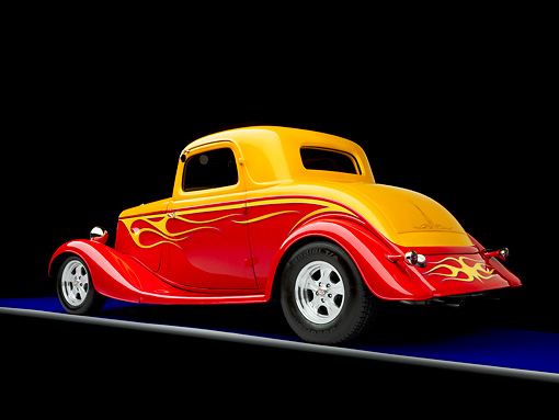 AUT 26 RK1270 01 © Kimball Stock 1934 Ford 3-Window Coupe Hot Rod Red And Gold 3/4 Rear View Studio