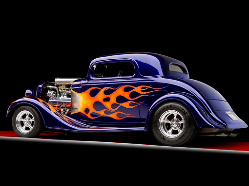 AUT 26 RK1271 01 © Kimball Stock 1935 Chevrolet Coupe Hot Rod Blue 3/4 Rear View Studio