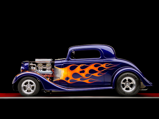 AUT 26 RK1275 01 © Kimball Stock 1935 Chevrolet Coupe Hot Rod Blue Profile View Studio