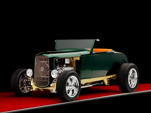 AUT 26 RK1276 01 © Kimball Stock 1931 Ford Roadster Hot Rod Green 3/4 Front View Studio