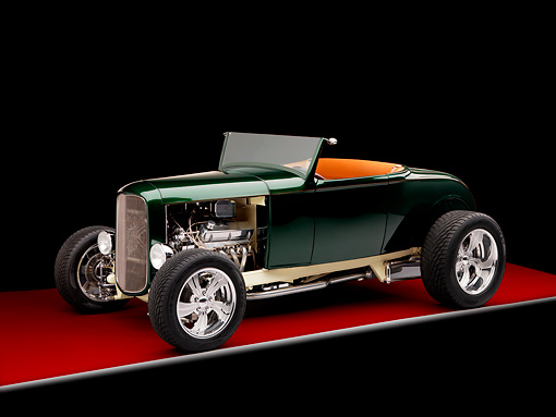 AUT 26 RK1278 01 © Kimball Stock 1931 Ford Roadster Hot Rod Green 3/4 Front View Studio