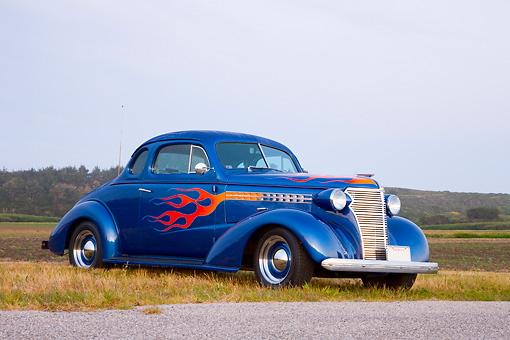 1938 Chevrolet Coupe Hot Rod Blue 3/4 Front View In Field