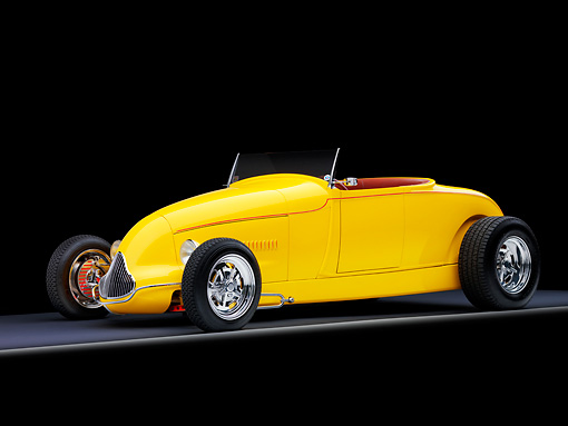 AUT 26 RK1292 01 © Kimball Stock Goodguys' 1929 Ford Roadster Hot Rod Yellow 3/4 Front View Studio