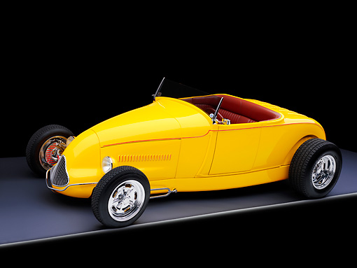 AUT 26 RK1293 01 © Kimball Stock Goodguys' 1929 Ford Roadster Hot Rod Yellow 3/4 Front View Studio